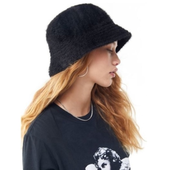 5c75b6b17f2 Urban Outfitters Grunge Black Fuzzy Gia Bucket Hat